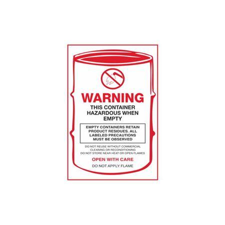 HazWaste Label-This Container Hazardous When Empty 6 x 4in