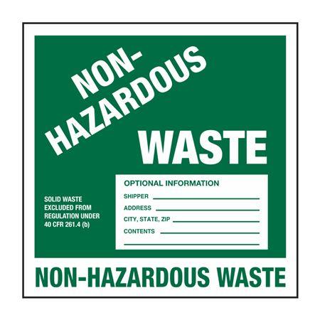 Pin Fed HazMat Labels - Non-Hazardous Waste 6 x 6