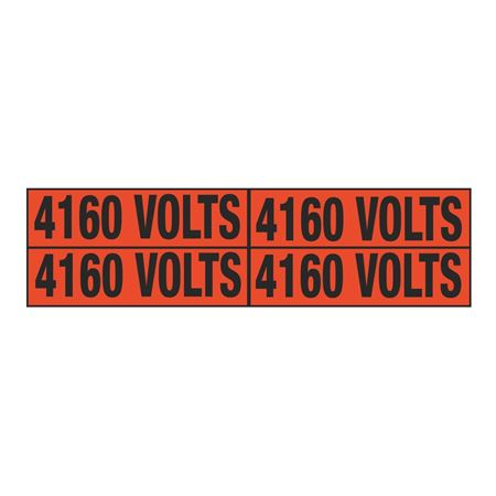 Electrical Markers - 4160 Volts - EM2 label 1.125 x 4.25