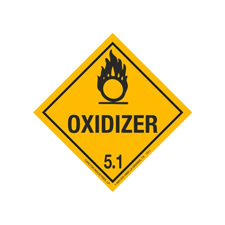 Oxidizer Shipping Label