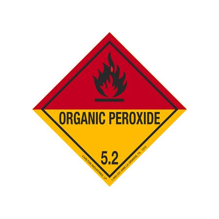 Organic Peroxide Shipping Label