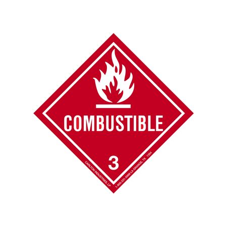 Combustible Shipping Label