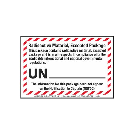 Radioactive Material, Excepted Package - 3 x 4-1/2