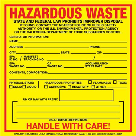 Custom Hazardous Waste Decal - California State - 6 x 6
