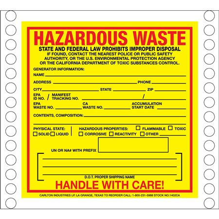 Pin Fed HazMat Labels - California State Regulated 6 x 6