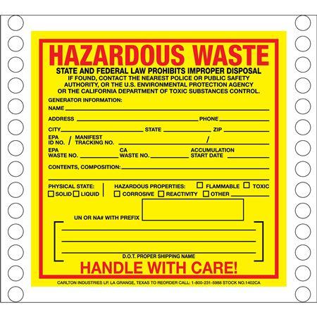 Custom Pin Fed HazMat Labels - Hazardous Waste 6 x 6