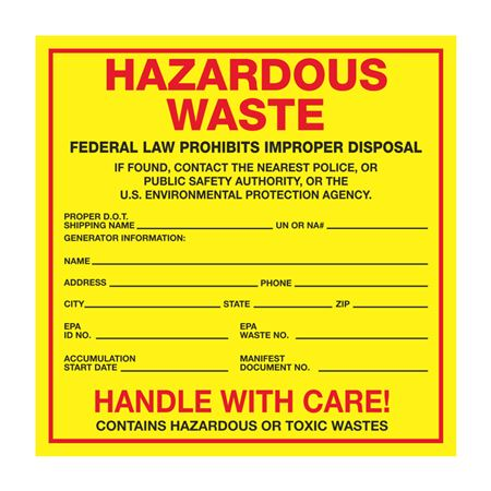 Exterior Hazardous Waste Paper Label on Roll of 500 - 6 x 6