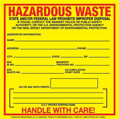 Exterior Hazardous Waste Decals New Jersey Regulated 6 x 6