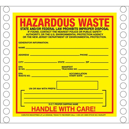 Pin Fed HazMat Labels - New Jersey State Regulated 6 x 6