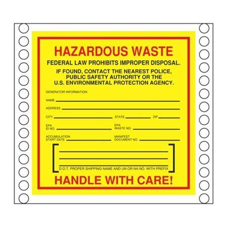 Custom Pin Fed Hazardous Waste South Carolina Label 6 x 6