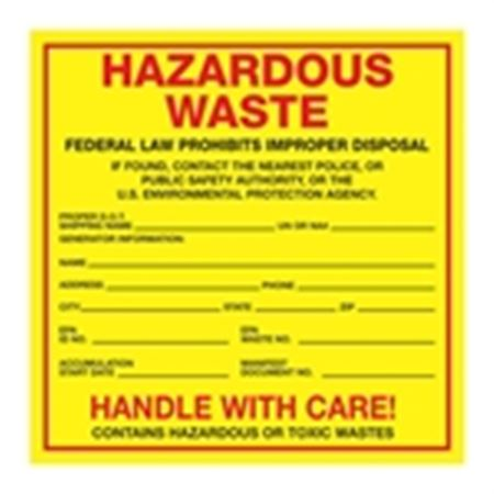Exterior HazMat Labels on a Roll - Hazardous Waste Generator Information Paper Label on Roll 6 x 6