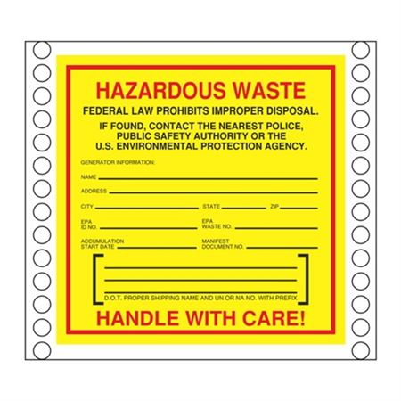 Custom Pin Fed HazMat Labels - Hazardous Waste Generator Information 6 x 6