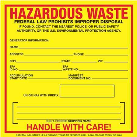 Custom Exterior HazMat Decals - Hazardous Waste Generator Information 6 x 6
