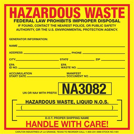 Exterior HazMat Decals - Hazardous Waste, Liquid N.O.S. NA3082 6 x 6