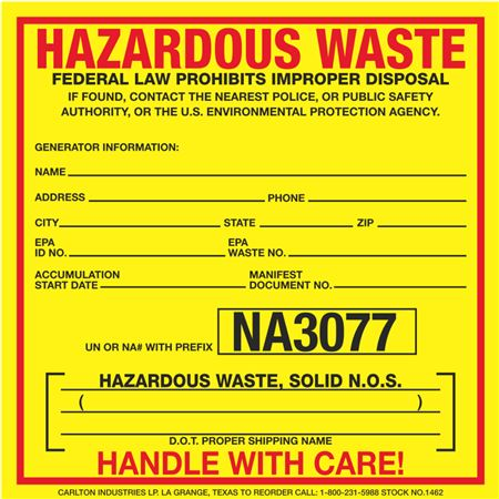 Exterior HazMat Decals - Hazardous Waste, Solid N.O.S. NA3077 6 x 6