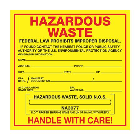 Exterior HazMat Labels on a Roll - Hazardous Waste, Solid N.O.S. NA3077 Paper Label on Roll 6 x 6