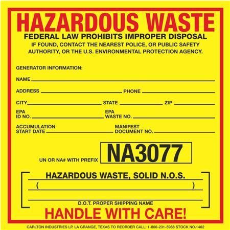 Custom Exterior HazMat Decals - Hazardous Waste, Solid N.O.S. NA3077 6 x 6