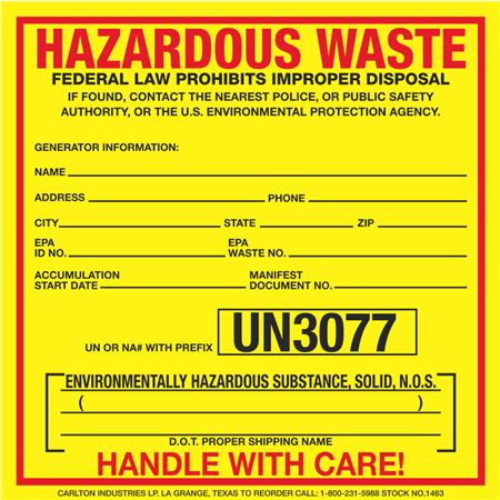 Custom Exterior HazMat Decals - Hazardous Waste Environmentally Hazardous Substance, Solid N.O.S. UN3077 6 x 6