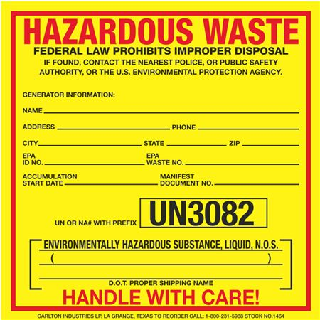 Exterior HazMat Decals - Hazardous Waste Environmentally Hazardous Substance, Liquid N.O.S. UN3082 6 x 6