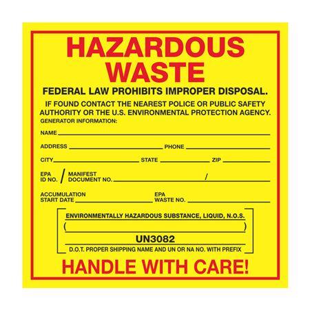 Exterior HazMat Labels on a Roll - Hazardous Waste Environmentally Hazardous Substance, Liquid N.O.S. UN3082 Paper Label on Roll 6 x 6