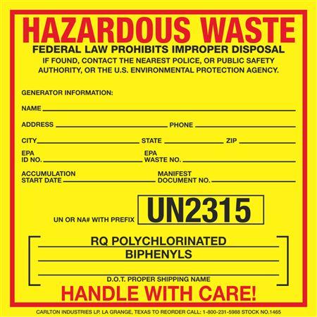 Exterior HazMat Decals - Hazardous Waste RQ Polychlorinated Biphenyls UN2315 6 x 6
