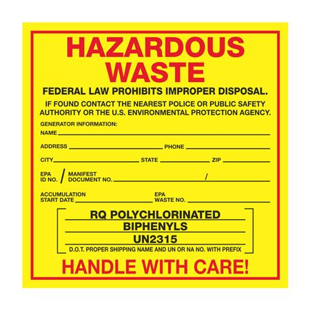Exterior HazMat Labels on a Roll - Hazardous Waste RQ Polychlorinated Biphenyls UN2315 Paper Label on Roll 6 x 6