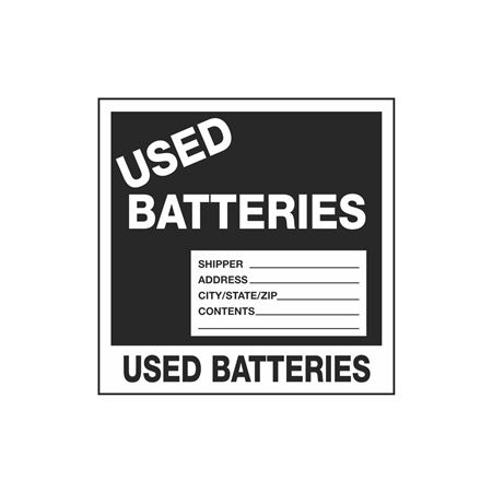 Assorted HazWaste Labels - Used Batteries 6 x 6