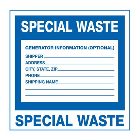Assorted HazWaste Labels - Special Waste 6 x 6