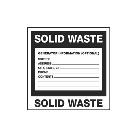 Assorted Pre-Printed HazWaste Labels  - Solid Waste 6 x 6