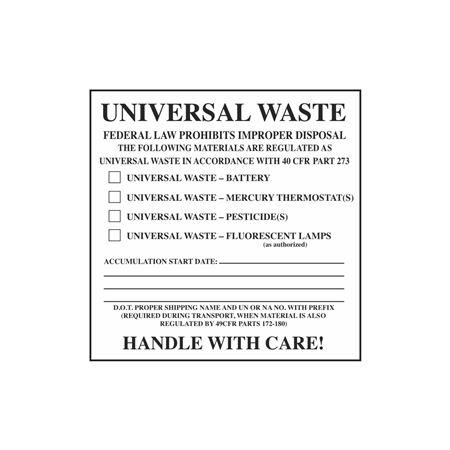 Assorted Pre-Printed HazWaste Labels  - Universal Waste 6 x 6