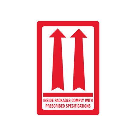 Red Dbl Arrow Inside Pkgs Comply w/Prescribed Specs 3x4 1/2