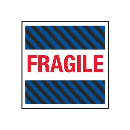 Fragile (Blue/Black Stripes) - 4 x 4