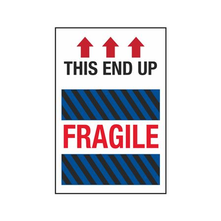 Fragile Labels - This End Up Fragile (Blue/Black Stripes) 4 x 6