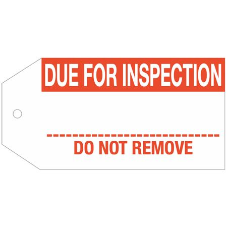 Stock Instruction Tags - Due For Inspection 2 7/8 Inch x 5 3/4 Inch
