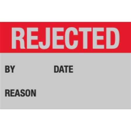Indentable Aluminum Calibration Labels - Rejected By/Date - Reason - 1 x 1.5