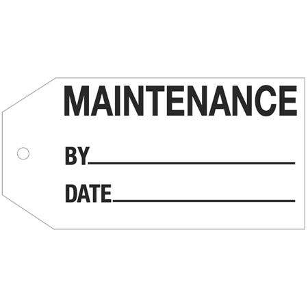 Stock Instruction Tags - Maintenance 2 7/8 Inch x 5 3/4 Inch