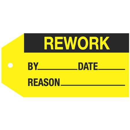 Stock Instruction Tags - Rework 2 7/8 Inch x 5 3/4 Inch