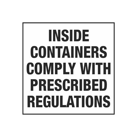UN Shipping Labels - Inside Containers Comply With Prescribed Regulations 4 x 4