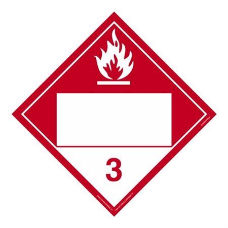 Class 3 - Combustible Liquid Blank - Tagboard 10 3/4 x 10 3/4