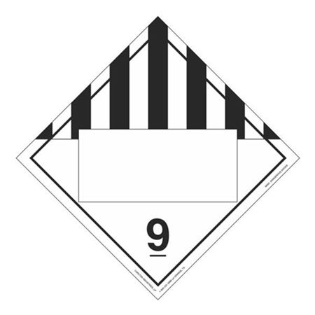 Class 9 Misc. Dangerous Goods Blank Tagboard Placard