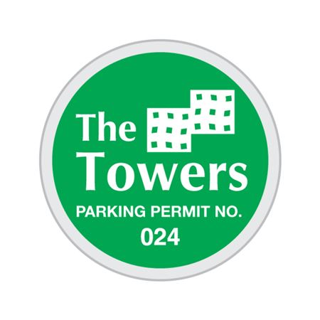 Numbered Custom Parking Permits - Circle 3 x 3