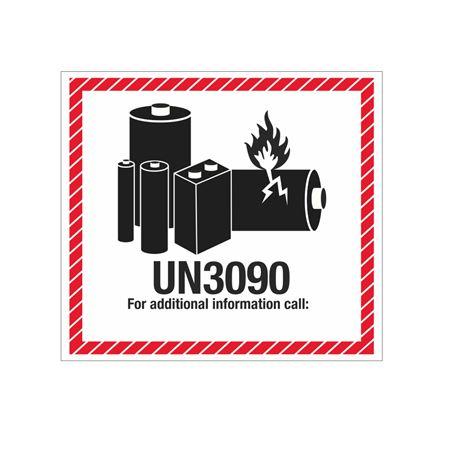 Lithium Battery Marking Label - UN3090 4 1/2 x 5