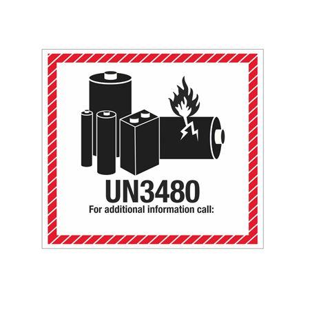 Lithium Battery Marking Label - UN3480 4 1/2 x 5