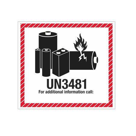 Lithium Battery Marking Label - UN3481 4 1/2 x 5