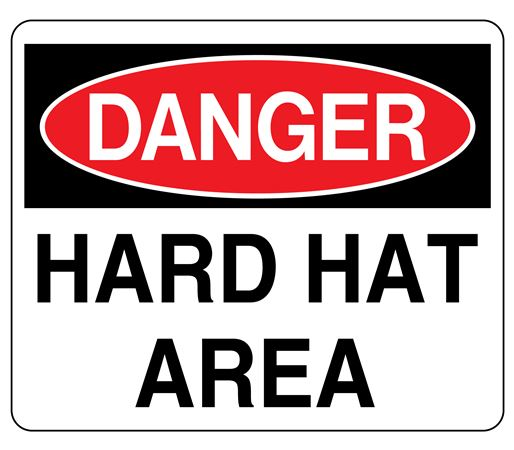 3D Danger Hard Hat Area Wall Sign 8x14