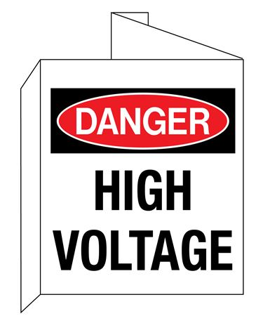 3D Danger High Voltage Wall Sign 8x14