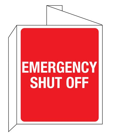 3D Emergency Shut Off Wall Sign 8x14