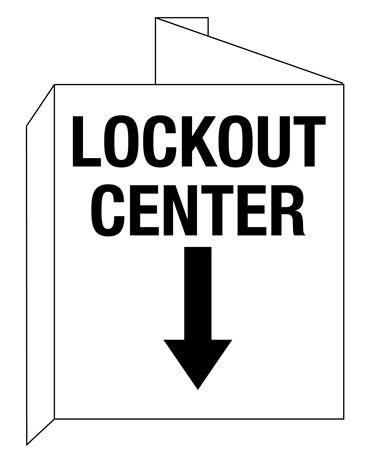 3D Lockout Center Wall Sign with Down Arrow Symbol 8x14