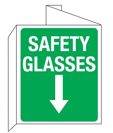 3D Safety Glasses Wall Sign with Down Arrow Symbol 8x14