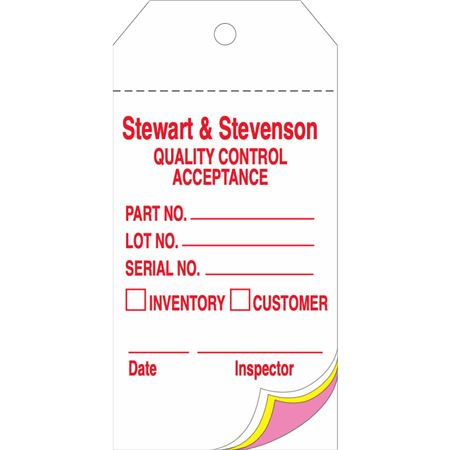 Custom Printed Mult-3 Part Tags - 1000 Pk 2 5/8 x 5 1/4